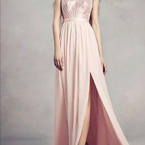SEQUIN BODICE BRIDESMAID DRESS WITH CHIFFON